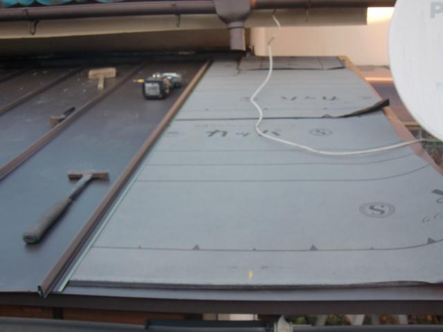 岸和田市野田町でガルバリューム鋼板縦平葺き中