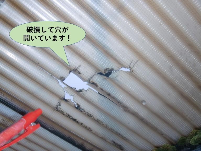 岸和田市の波板が破損して穴が開いています