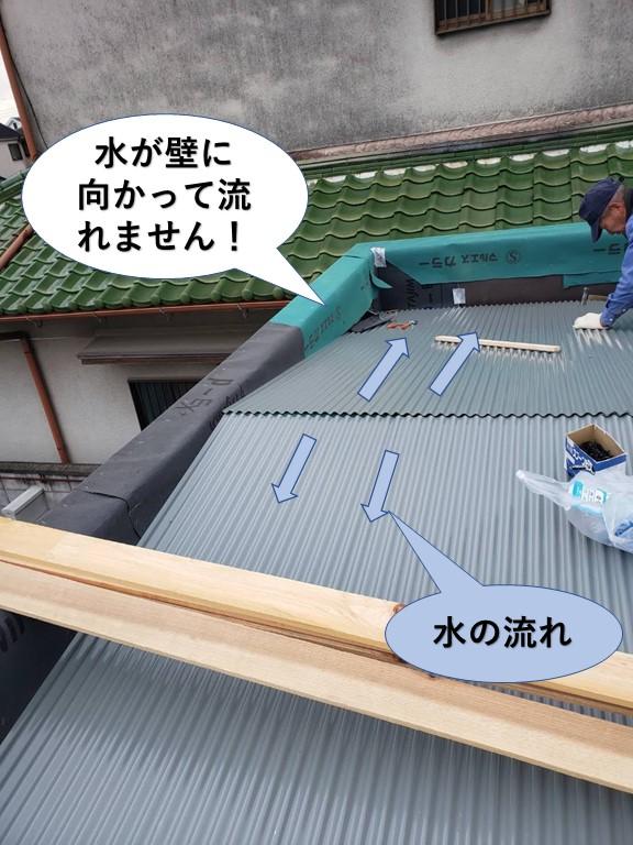 堺市で水がパラペットの壁に向かって流れません