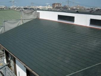 岸和田市上松町の屋根スレート瓦への葺き替え工事
