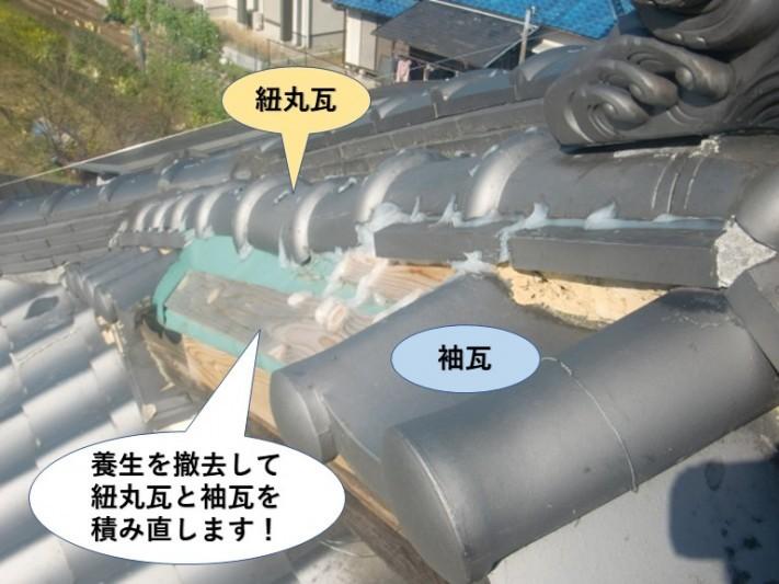 岸和田市の屋根養生を撤去して紐丸瓦と袖瓦を積み直します