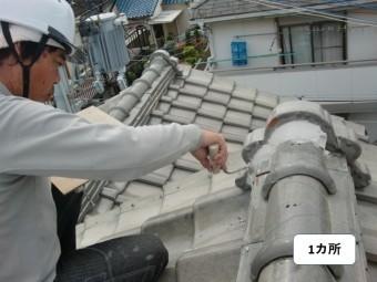 岸和田市の鬼瓦の漆喰復旧一カ所目
