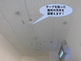 泉佐野市の工場の天井板・テープを張った部分を張り替えます