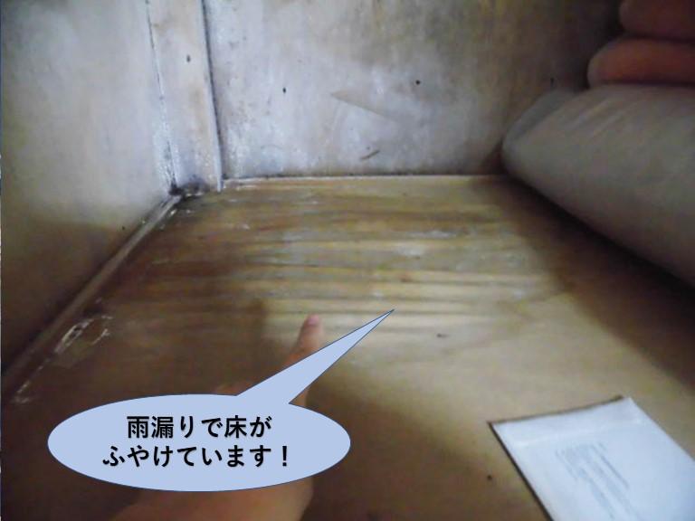 泉佐野市の雨漏りで押し入れの床がふやけています
