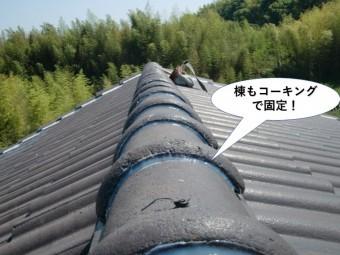 岸和田市の棟もコーキングで固定