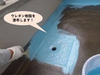 岸和田市のバルコニーにウレタン樹脂を塗布します!