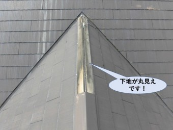 岸和田市の住宅の棟の下地が丸見えです