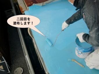 岸和田市の陸屋根にウレタン防水二回目を塗布