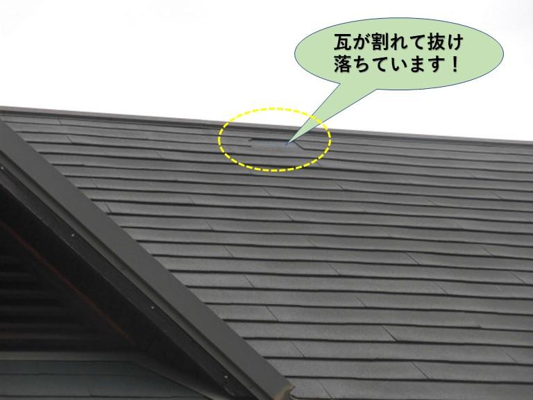和泉市の瓦が割れて抜け落ちています