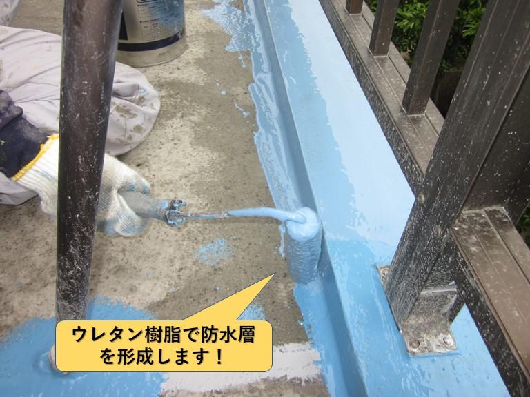 和泉市のベランダをウレタン樹脂で防水