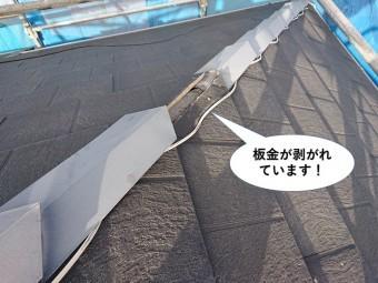 泉佐野市の棟の板金が剥がれています
