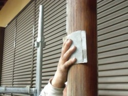 岸和田市春木本町の外壁塗装の足場解体と部分塗装