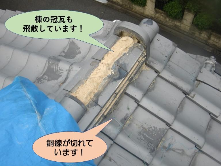 岸和田市の棟の冠瓦も飛散