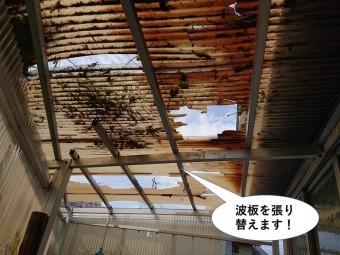岸和田市の波板を張り替えます