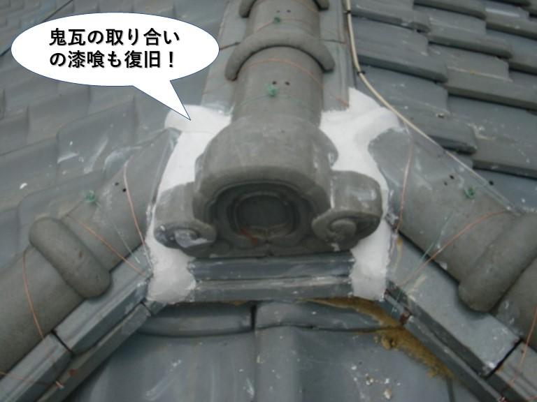 和泉市の鬼瓦の取り合いの漆喰も復旧
