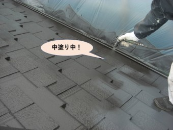 岸和田市の屋根中塗り中