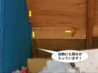 熊取町の収納にも雨水が入っています