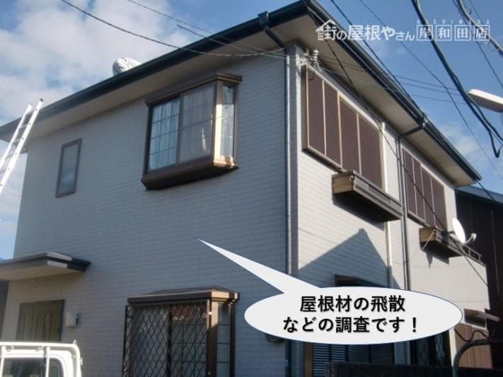 泉大津市の屋根材の飛散などの現地調査です
